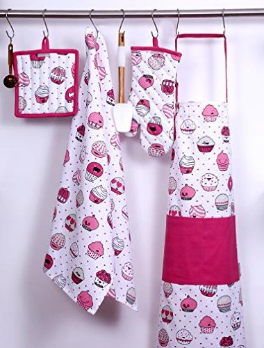 CASA DECORS Apron,Oven Mitt,Pot Pair of Kitchen Towels a Valentine Design, Made Cotton, Gift Linen Set