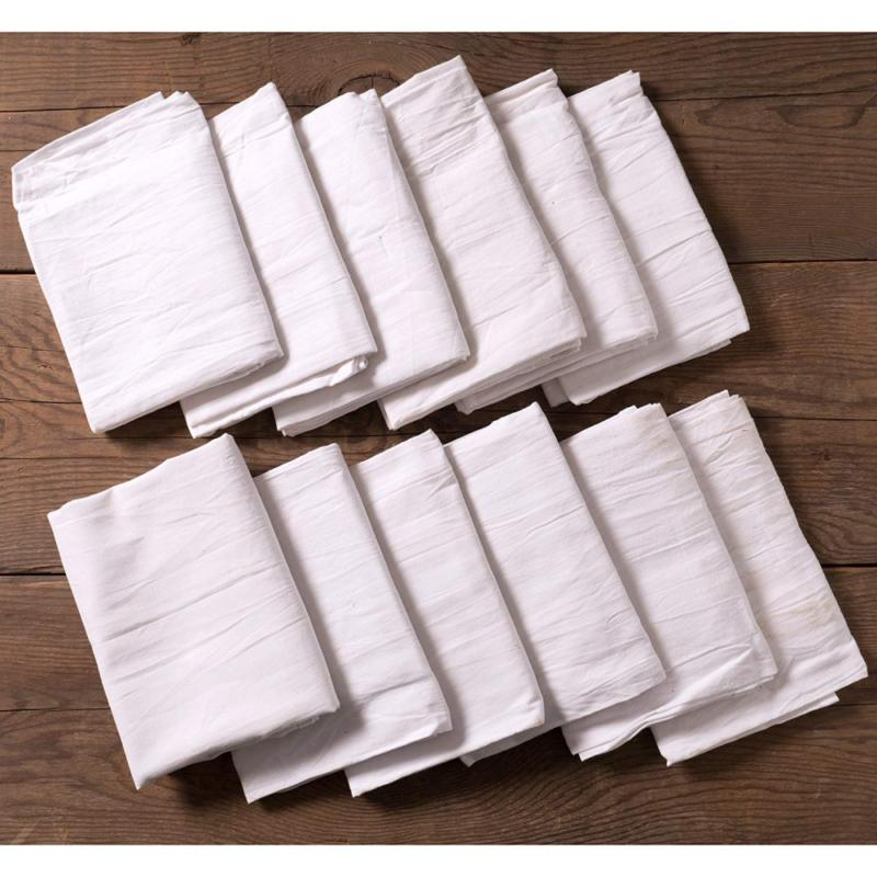 KAF Home Set 12 White Kitchen Towels, Cotton,