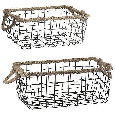 MyGift of Black Metal Nesting Storage Baskets