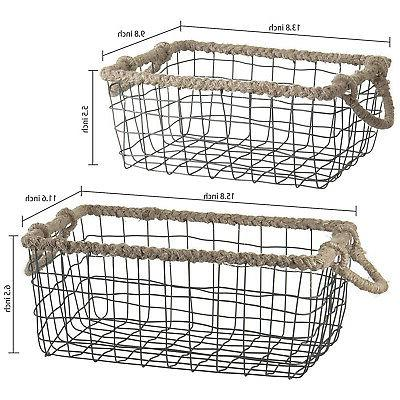 MyGift Set Black Storage Braid Rope Handles