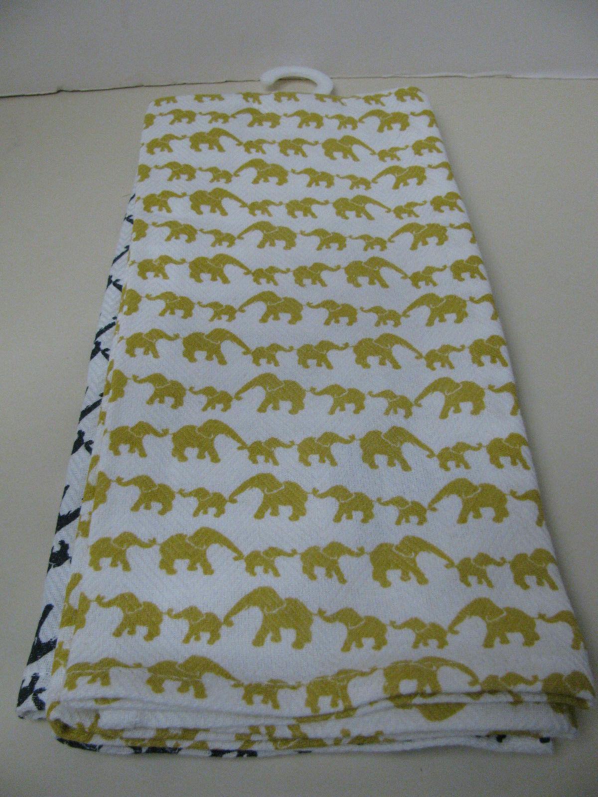 Set Towels ELEPHANTS GOLD - New