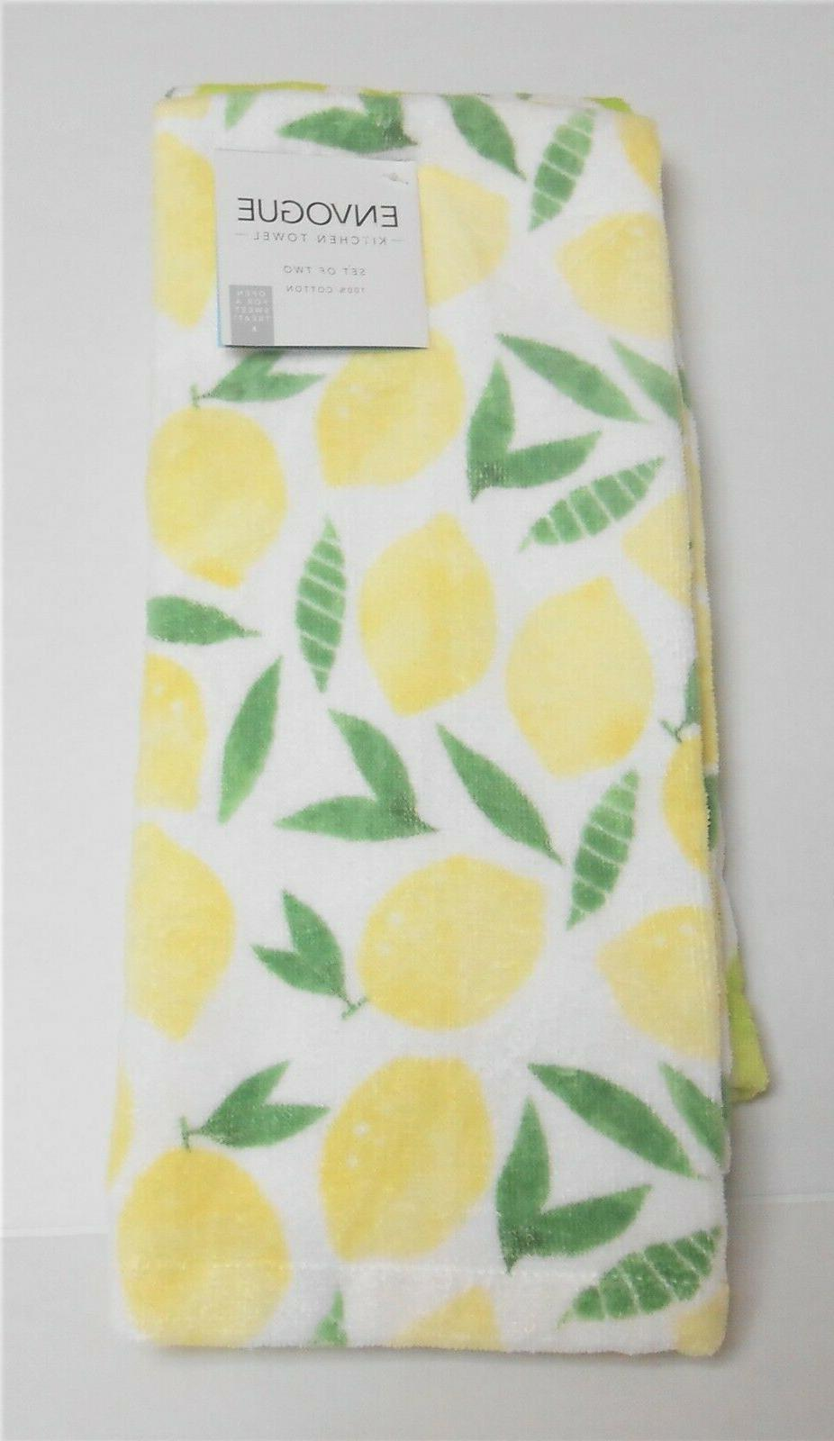 Envogue of 2 Kitchen Tea Towels and Limes