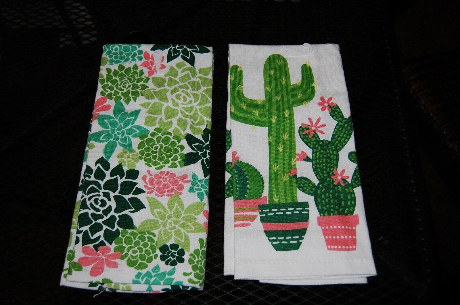 SET OF 2 TOWELS, CACTUS & FLOWERS. 100%