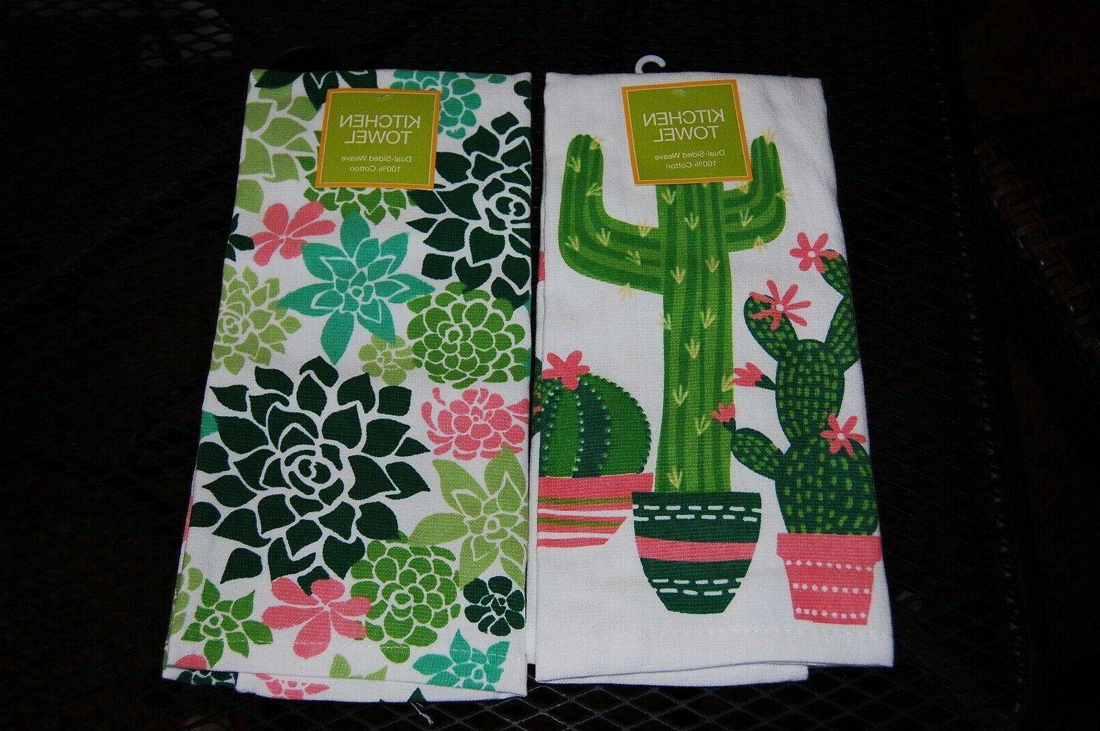 set of 2 kitchen towels cactus