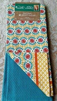 Set of 2 Pioneer Woman Kitchen Towels Daisey Chain Dish Tea