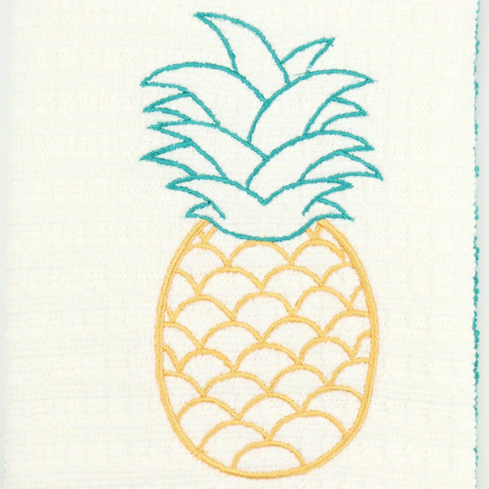 Set Towels - Embroidered Pineapple Design 26 Cotton Towels