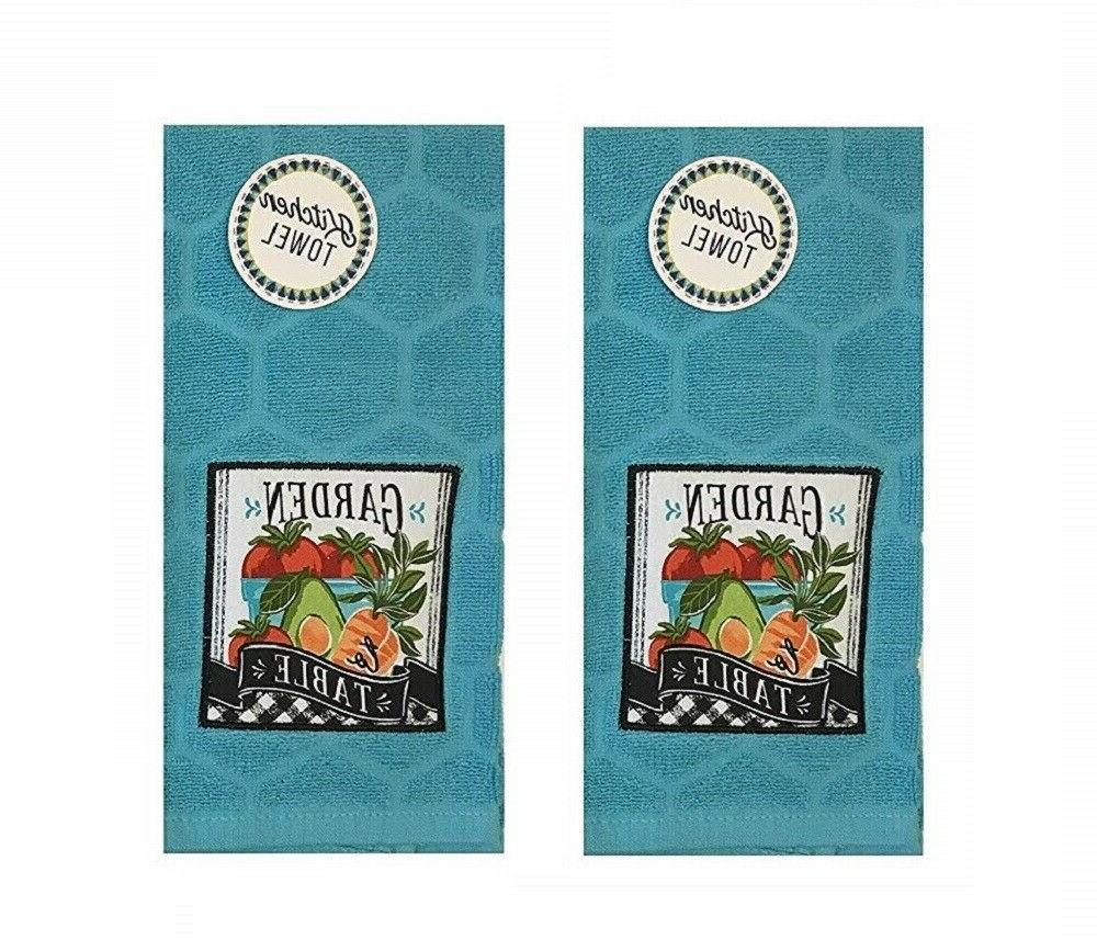 Set of 2 Kitchen Towels Garden To Table Farmhouse Vegetables