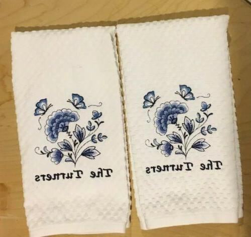 Set Name Embroidered Flowers Kitchen Waffle