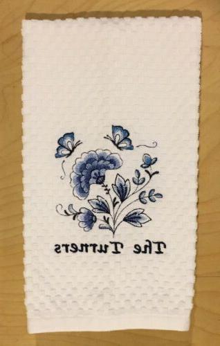 Set Of Personalized Name Blue Kitchen Weave Towels