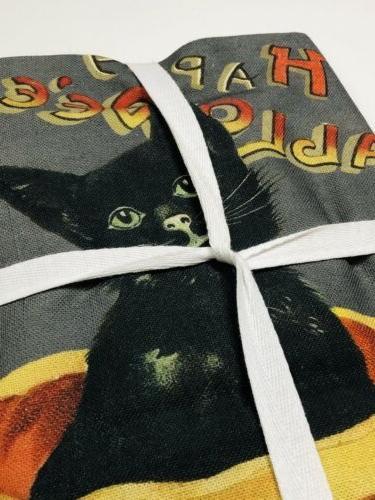 Set 2 Williams Sonoma Vintage Black Cat Pumpkin Towels NEW