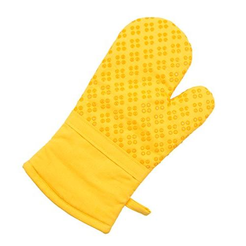 Sticky Silicone Printed Oven & Pot Holder, Terry Dish Yellow, Set