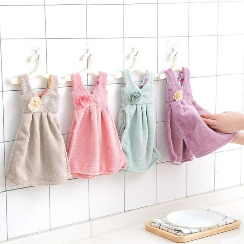 soft absorbent skirt towels kitchen bathroom hanging