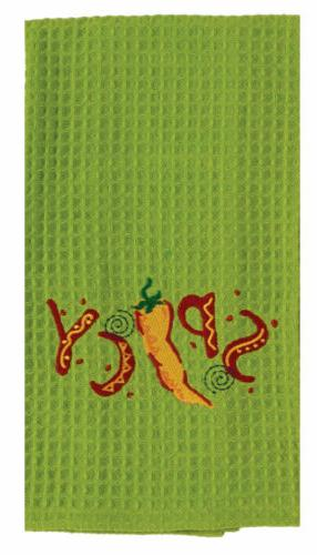 Southwest Spicy Pepper Lime Green Embroidered Waffle Kitchen