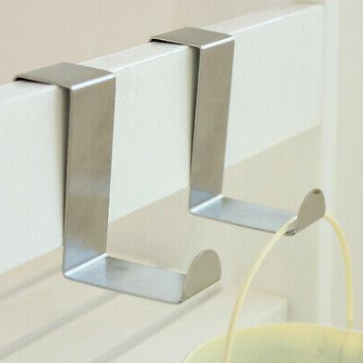 2x Stainless Steel Over the Door Hook Home Kitchen Single To