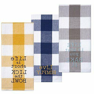 Sticky Toffee Cotton Flour Sack Kitchen Towels, Embroidered