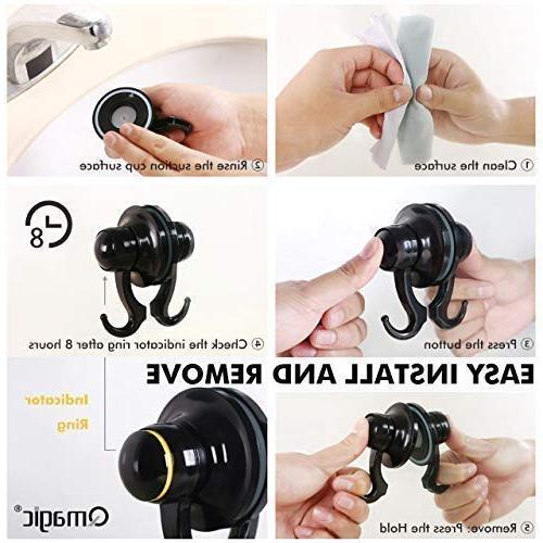 Qmagic Strong Vacuum Suction Cup - Shower & Kitchen Hooks Robe, Coat, Suitable for - Diameter