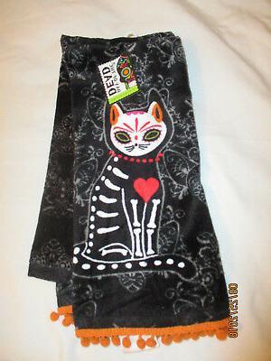 sugar skull cat kitchen towels nwt black