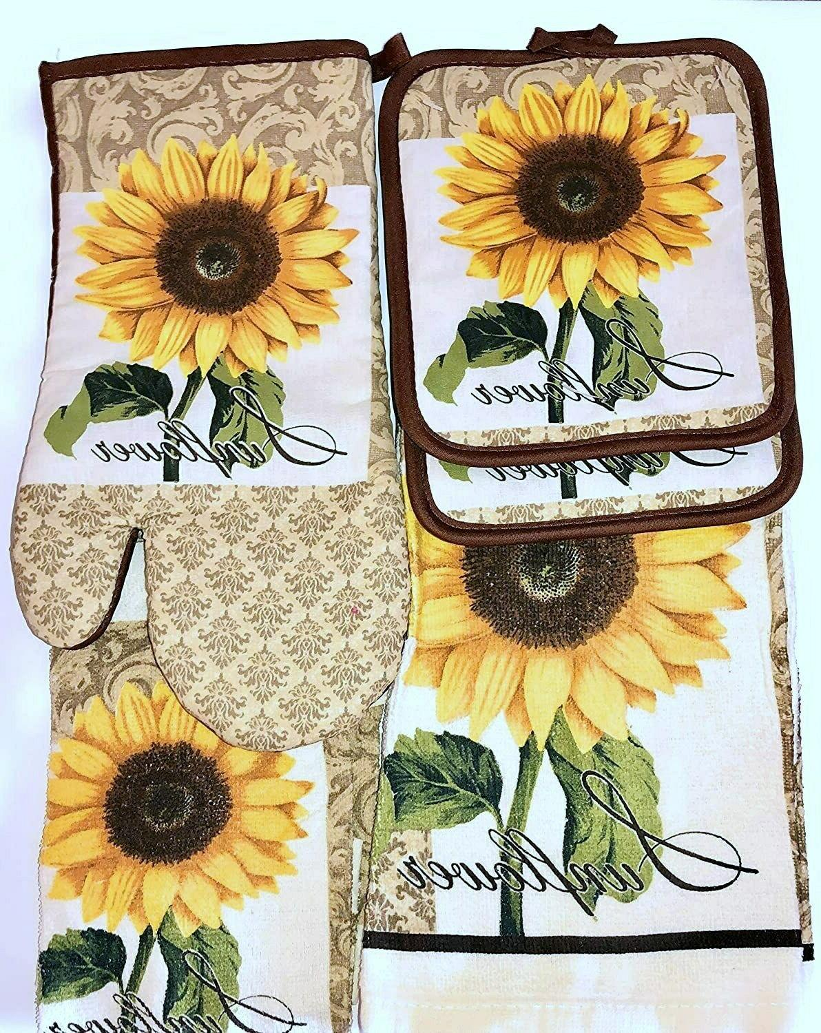 sunflower 7 piece set towels oven mitt