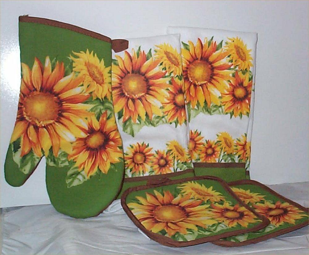 sunflower kitchen towels oven mitt hot pads