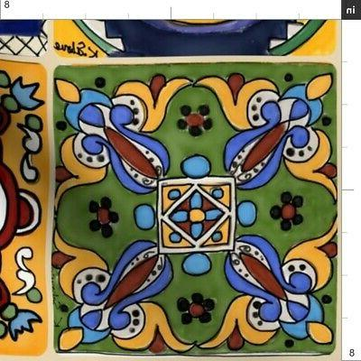 Talavera Mexican Hand Tea Kitchen Printed by Spoonflower