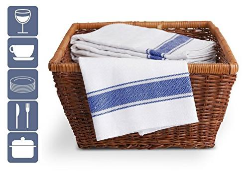 Vintage Tea Towels with Hanging 6 Pack White Stripes Large centimeter Lasting and Dry Kitchen Glasses Fast
