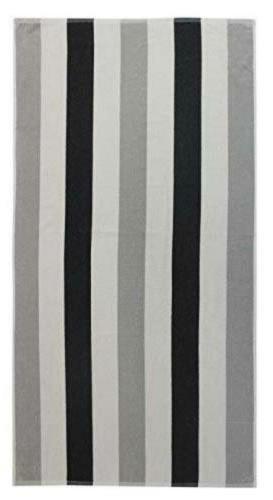 Cotton Beach Towel 2 Pack- Grey Black