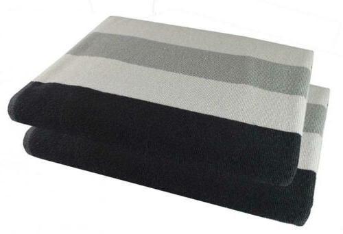 Cotton Beach Towel 30x60-2 Pack- Cabana Grey Black