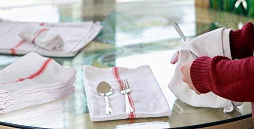 AMA's Dish Towels Tea 100 Percent Cotton Cloths Red Dish Towels