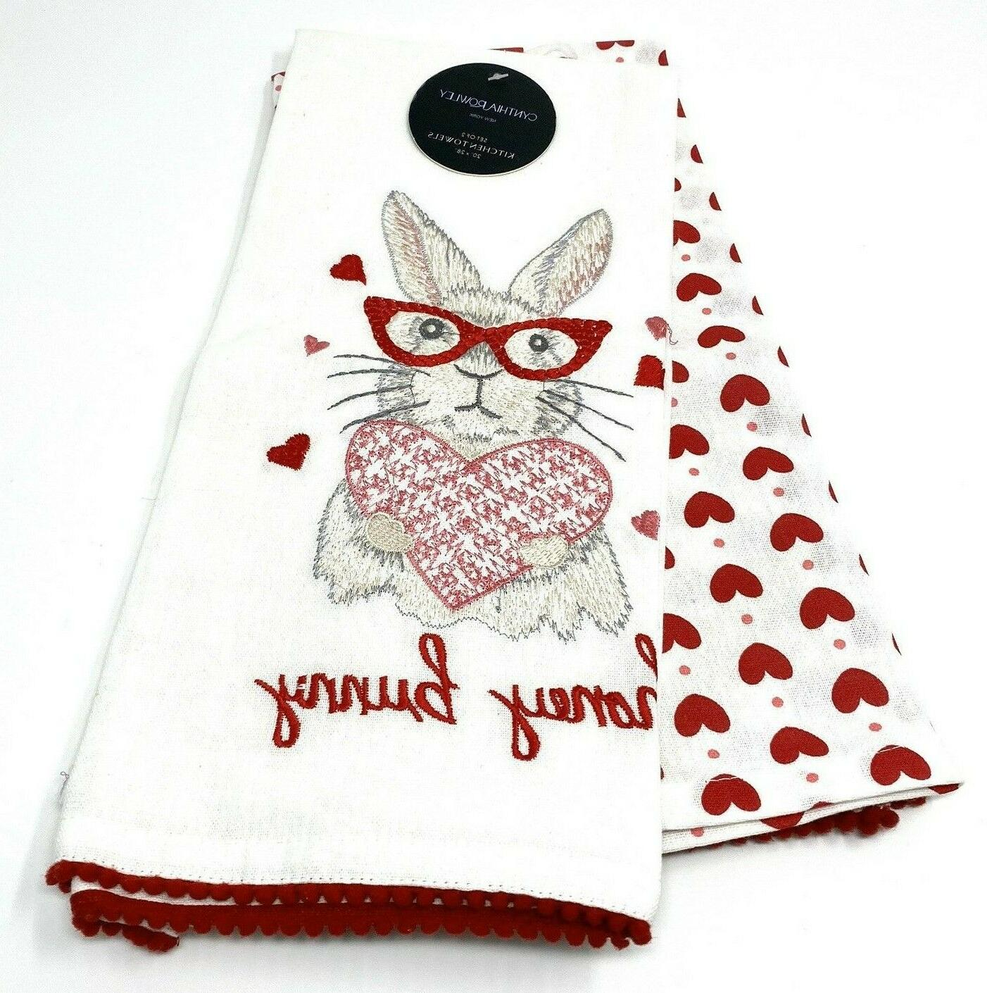towels 2 pack bunny hearts valentine kitchen