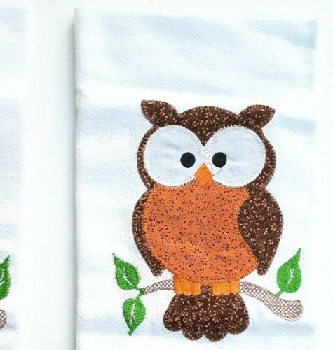 kitchen towels 2 piece set fall owls.