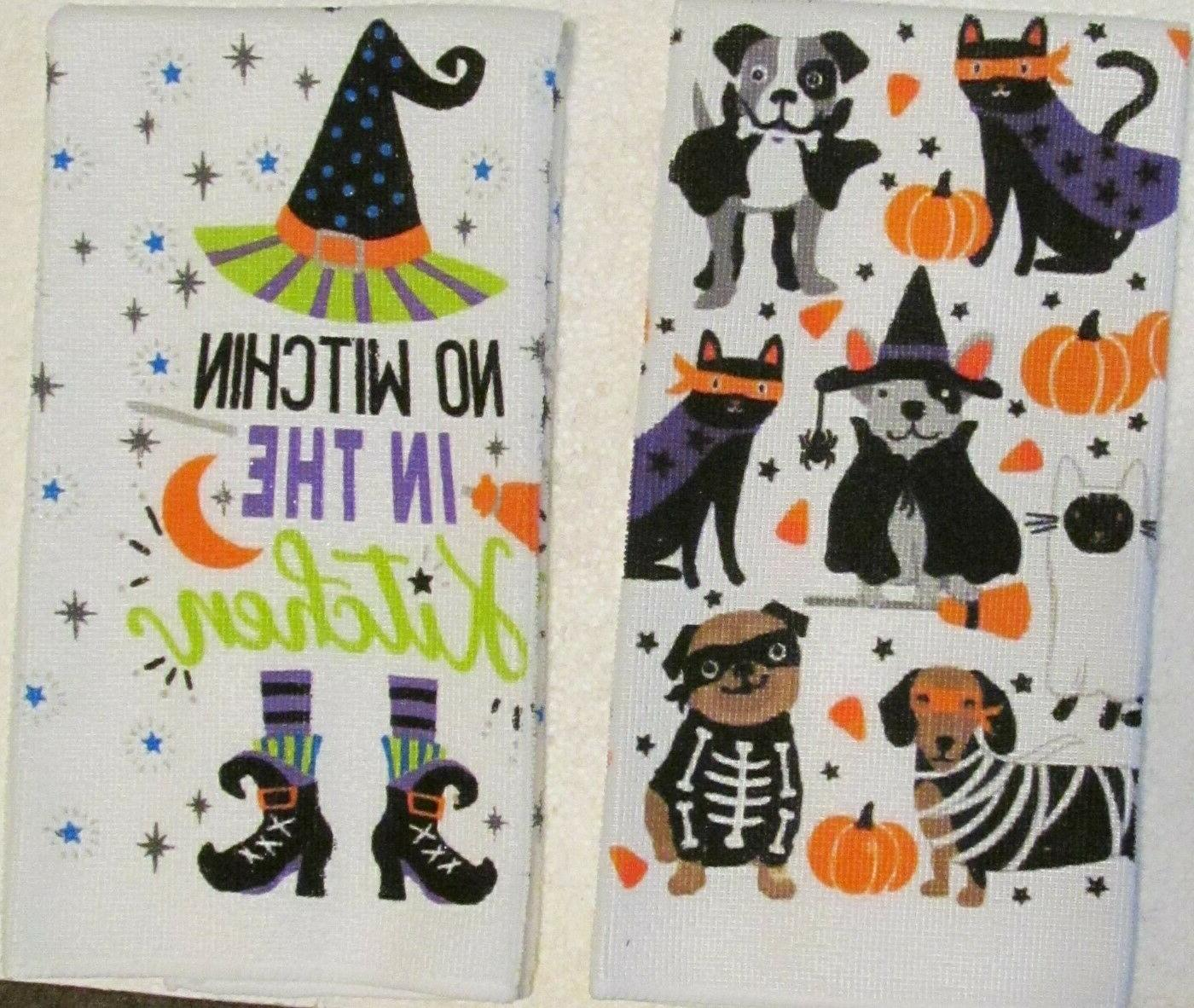 Kitchen Towels - Halloween Costumed Dogs & Cats - No Witchen