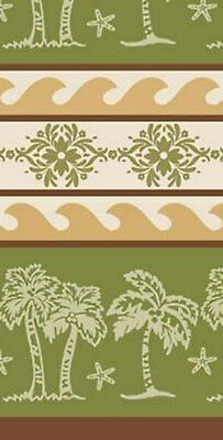 Tropical Island Palm Tree Kitchen Jacquard Tea Towel 100% Co