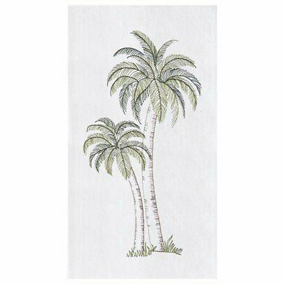 Tropical Palm Tree Embroidered Flour Sack Kitchen Dishtowel