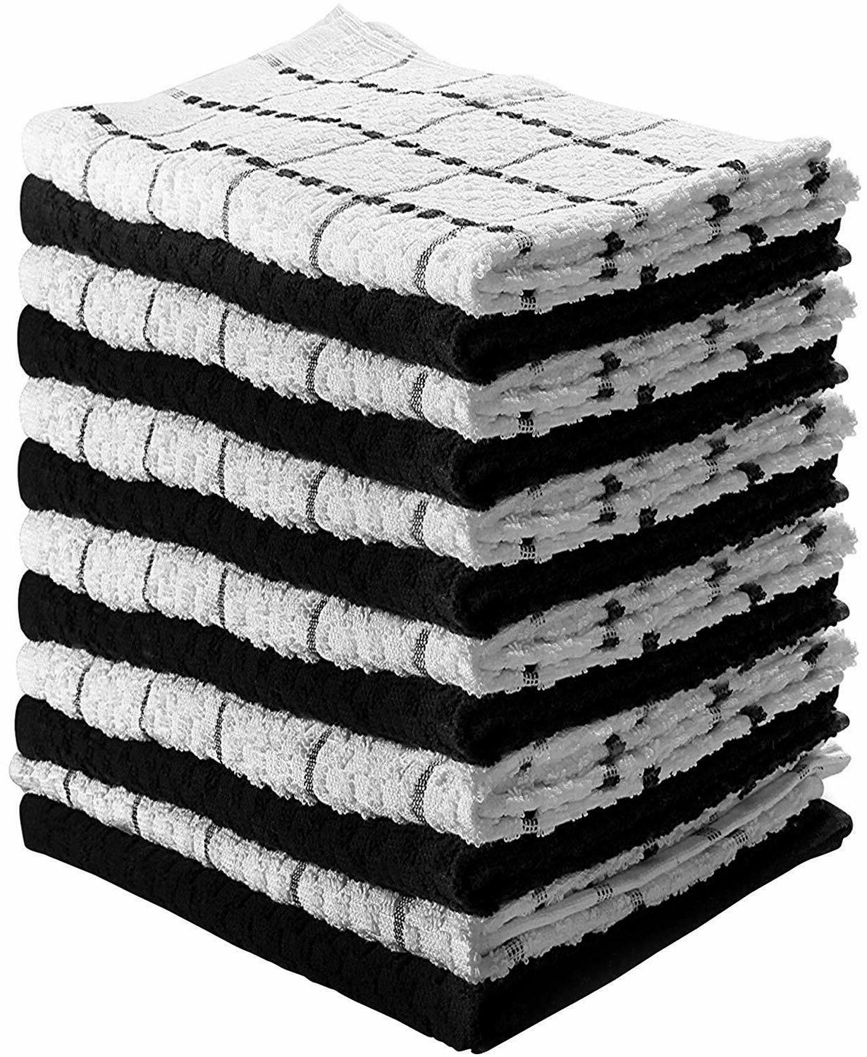 12 Pack Kitchen Towels,15 x 25 Inches Cotton Dish Towels, Te