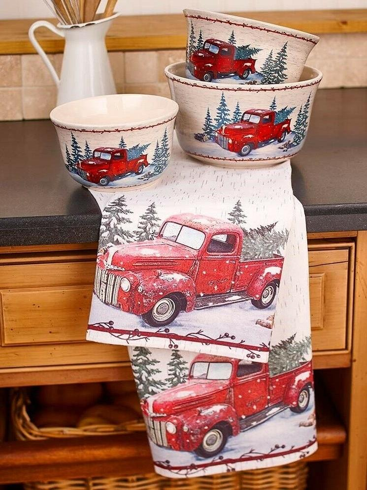 Vintage Country SET of 2 RED Towels&1Spatula KITCHEN FARMHOUSE