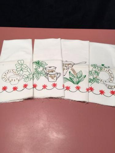 vintage dish towels set 4 ready to
