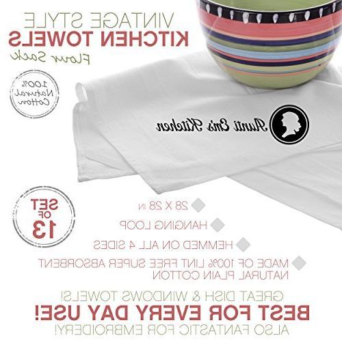 Aunti Kitchen Flour Towels, Weave Cloth Natural Cotton, 27 x 27, Baker's Dozen of 13, White