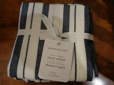 williams sonoma classic stripe navy kitchen towels