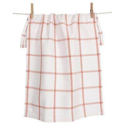 KAF Home Windowpane Oversized Kitchen Towel, 100% Cotton, Bl