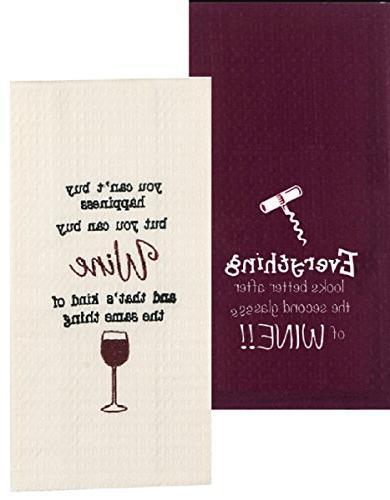 Wine Kitchen Towels Set Bundle Of 2 Embroidered