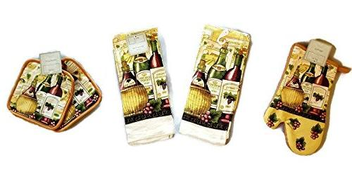 Wine Themed Kitchen Linen Set, Two Towels, One Oven mitt, and Two Pot  Holders