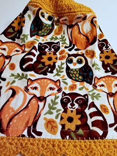 Woodland Crochet Hanging Kitchen Towel Decorative
