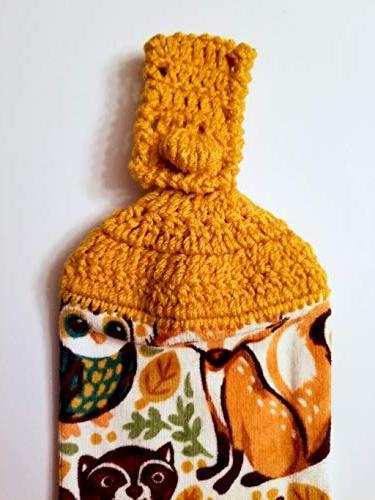Woodland Animals Hanging Towel with Decorative