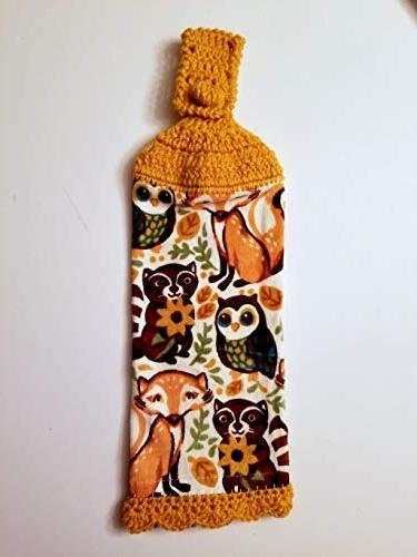 Woodland Animals Hanging Kitchen Towel Decorative Edge,