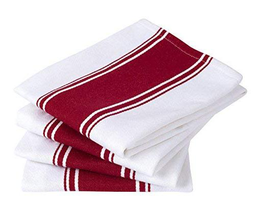 Cotton Pack Resistant Superior Finish Cotton Stripe - Kitchen Towels - Red Care