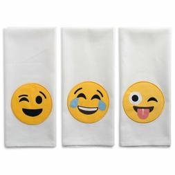 Laughing Emoji Embellished Dishtowels set 3 Kitchen Cotton C