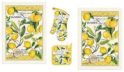 Michel Design Works Lemon Basil 4 Piece Kitchen Set - 2 Towe