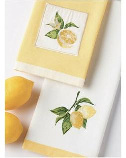 Lemon Slice And Lemon Branch Embellished Kitchen Dish Towels