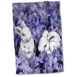 3dRose Little Easter Bunnies Among Blue Spring Flowers Towel