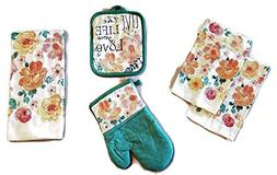 Live The Life You Love 5 Piece Bundle Package Oven Mitt  Pot